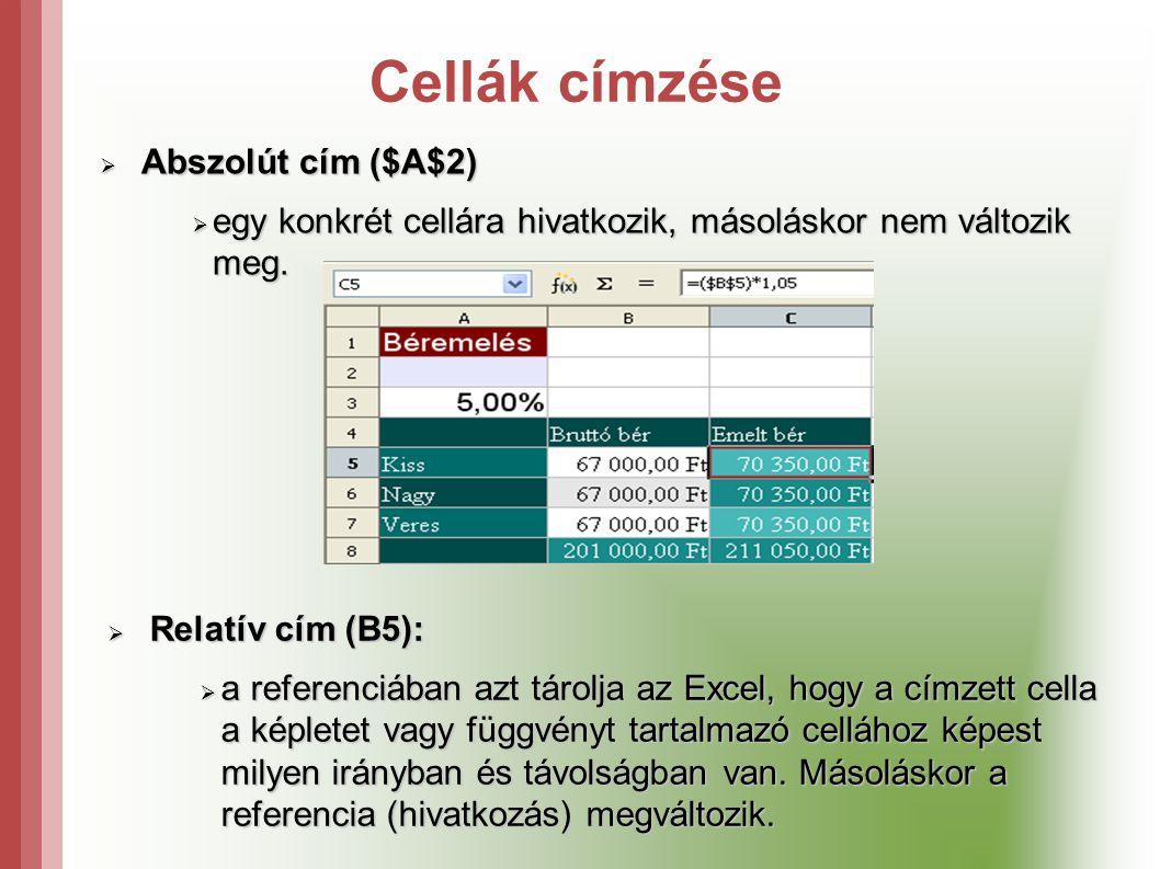 Cellák címzése  Abszolút cím ($A$2)  egy konkrét cellára hivatkozik, másoláskor nem változik meg.