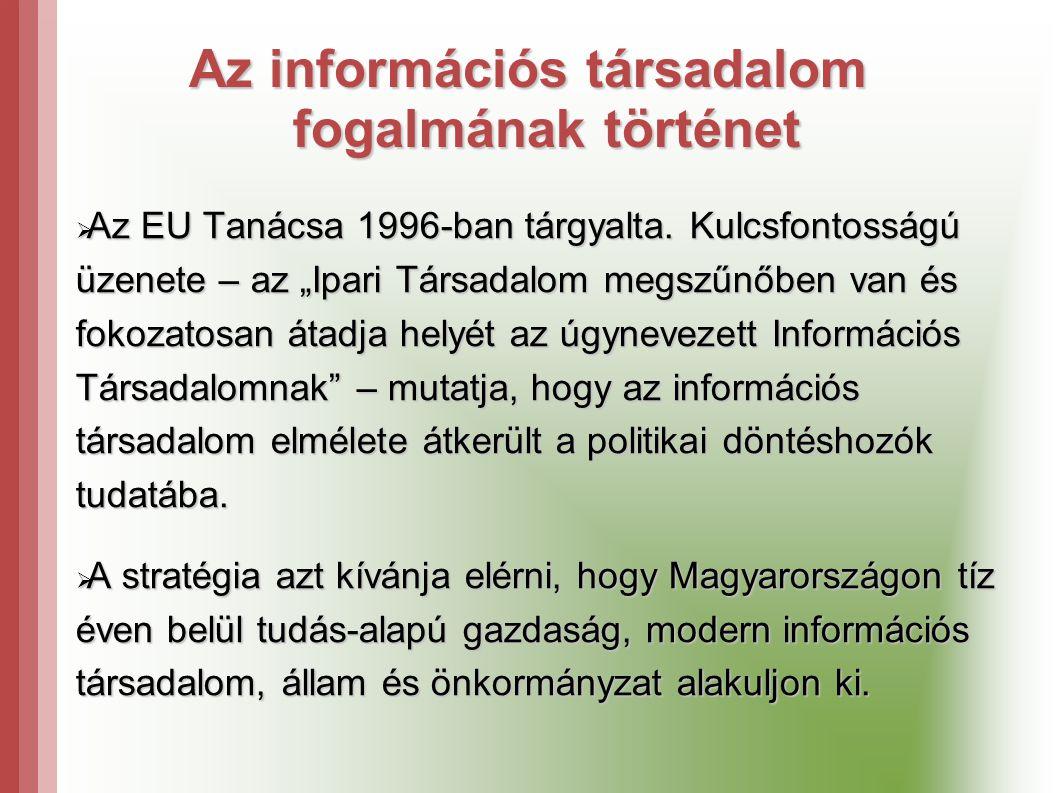 Az információs társadalom fogalmának történet  Az EU Tanácsa 1996-ban tárgyalta.