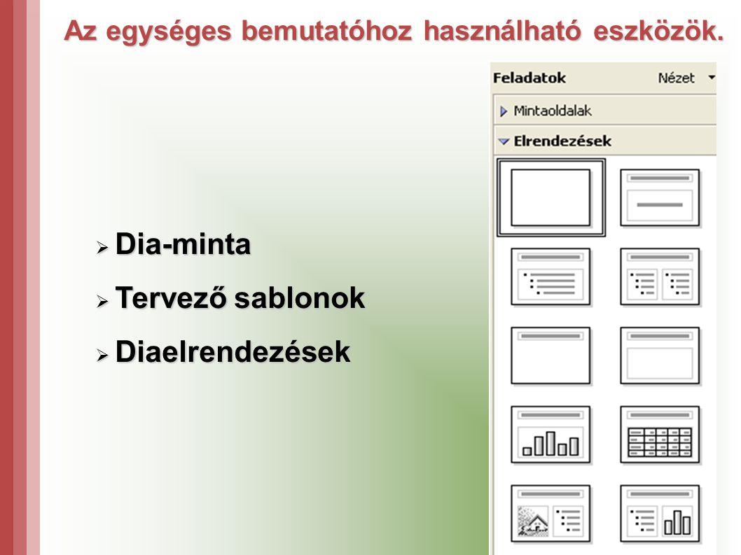Az egységes bemutatóhoz használható eszközök.  Dia-minta  Tervező sablonok  Diaelrendezések