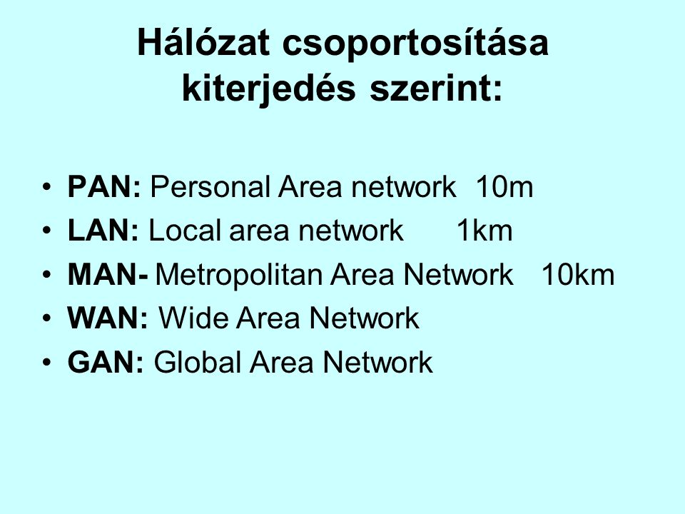 Hálózat csoportosítása kiterjedés szerint: •PAN: Personal Area network 10m •LAN: Local area network 1km •MAN- Metropolitan Area Network 10km •WAN: Wide Area Network •GAN: Global Area Network