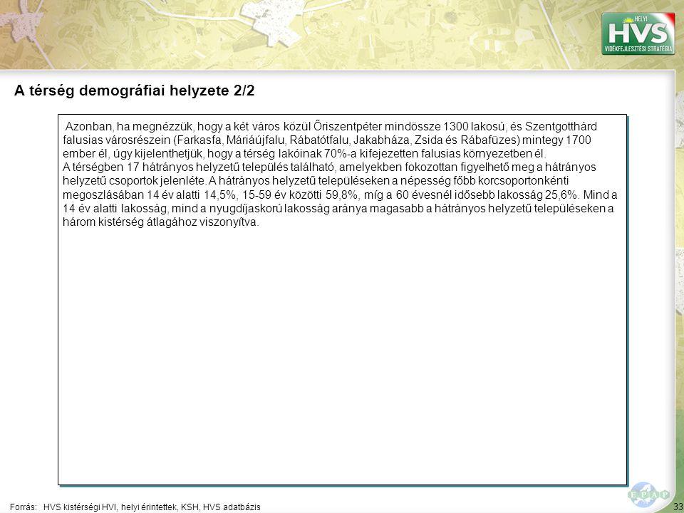 33 Azonban, ha megnézzük, hogy a két város közül Őriszentpéter mindössze 1300 lakosú, és Szentgotthárd falusias városrészein (Farkasfa, Máriáújfalu, Rábatótfalu, Jakabháza, Zsida és Rábafüzes) mintegy 1700 ember él, úgy kijelenthetjük, hogy a térség lakóinak 70%-a kifejezetten falusias környezetben él.