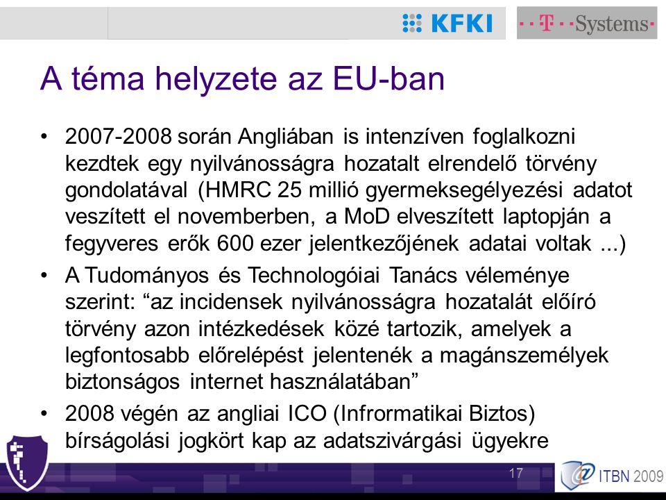 ITBN 2009 17 A téma helyzete az EU-ban •2007-2008 során Angliában is intenzíven foglalkozni kezdtek egy nyilvánosságra hozatalt elrendelő törvény gond