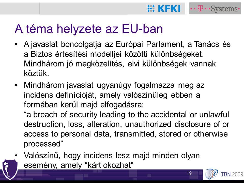 ITBN 2009 19 A téma helyzete az EU-ban •A javaslat boncolgatja az Európai Parlament, a Tanács és a Biztos értesítési modelljei közötti különbségeket.