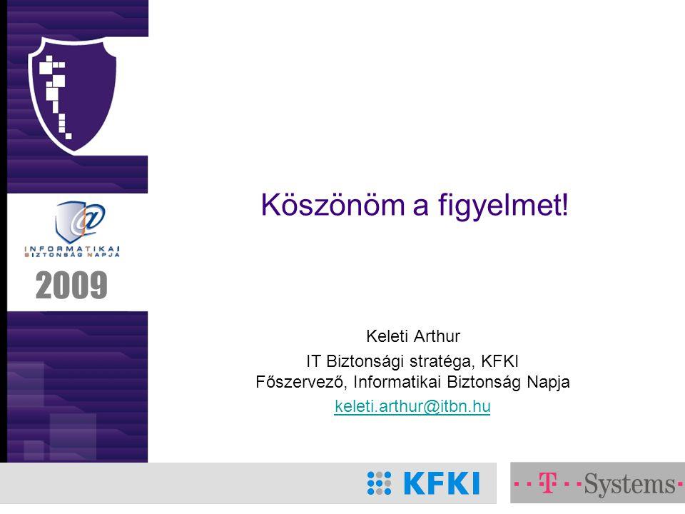 2009 Köszönöm a figyelmet! Keleti Arthur IT Biztonsági stratéga, KFKI Főszervező, Informatikai Biztonság Napja keleti.arthur@itbn.hu
