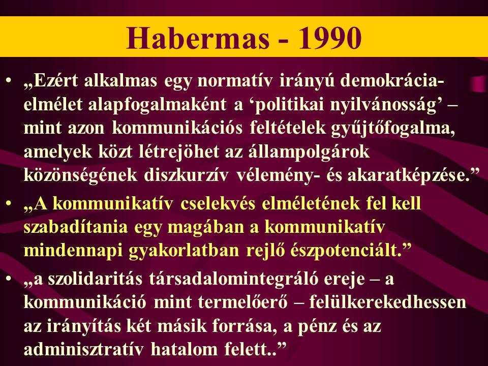 """Habermas - 1990 •""""Ezért alkalmas egy normatív irányú demokrácia- elmélet alapfogalmaként a 'politikai nyilvánosság' – mint azon kommunikációs feltétel"""