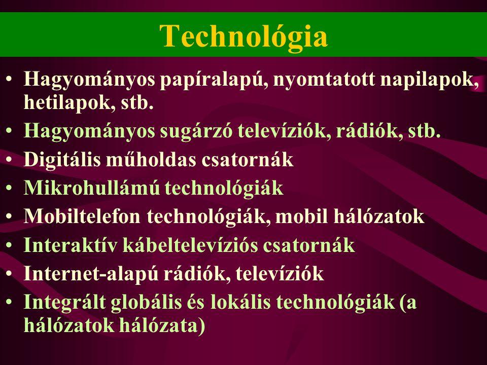 Technológia •Hagyományos papíralapú, nyomtatott napilapok, hetilapok, stb. •Hagyományos sugárzó televíziók, rádiók, stb. •Digitális műholdas csatornák