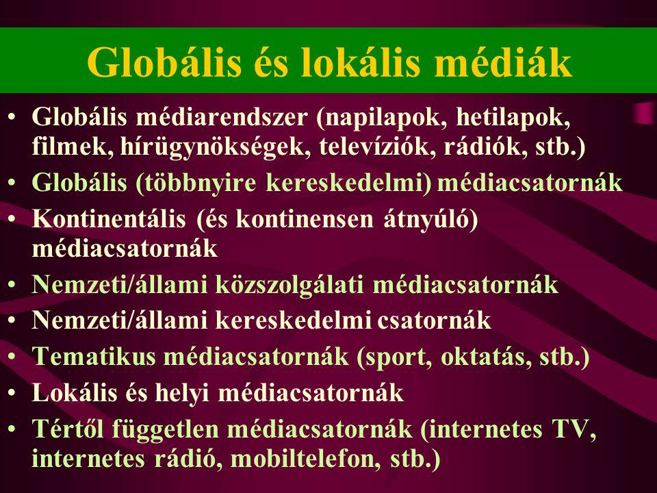 Globális és lokális médiák •Globális médiarendszer (napilapok, hetilapok, filmek, hírügynökségek, televíziók, rádiók, stb.) •Globális (többnyire keres