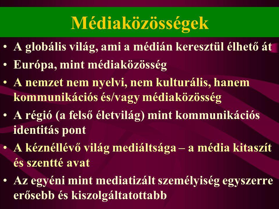 Médiaközösségek •A globális világ, ami a médián keresztül élhető át •Európa, mint médiaközösség •A nemzet nem nyelvi, nem kulturális, hanem kommunikác