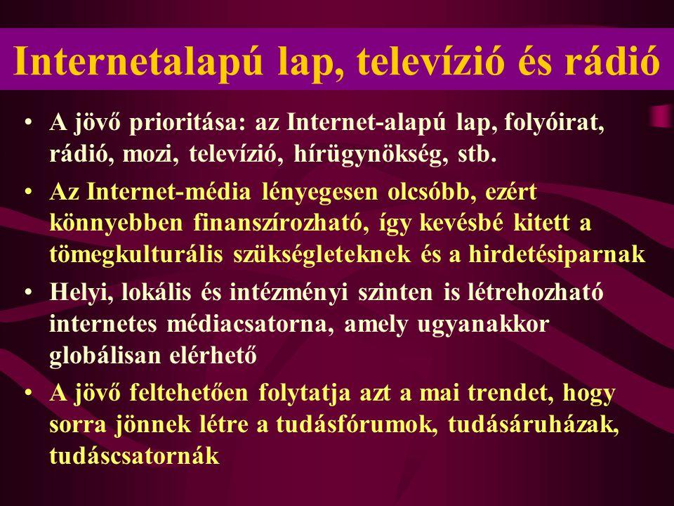 Internetalapú lap, televízió és rádió •A jövő prioritása: az Internet-alapú lap, folyóirat, rádió, mozi, televízió, hírügynökség, stb. •Az Internet-mé