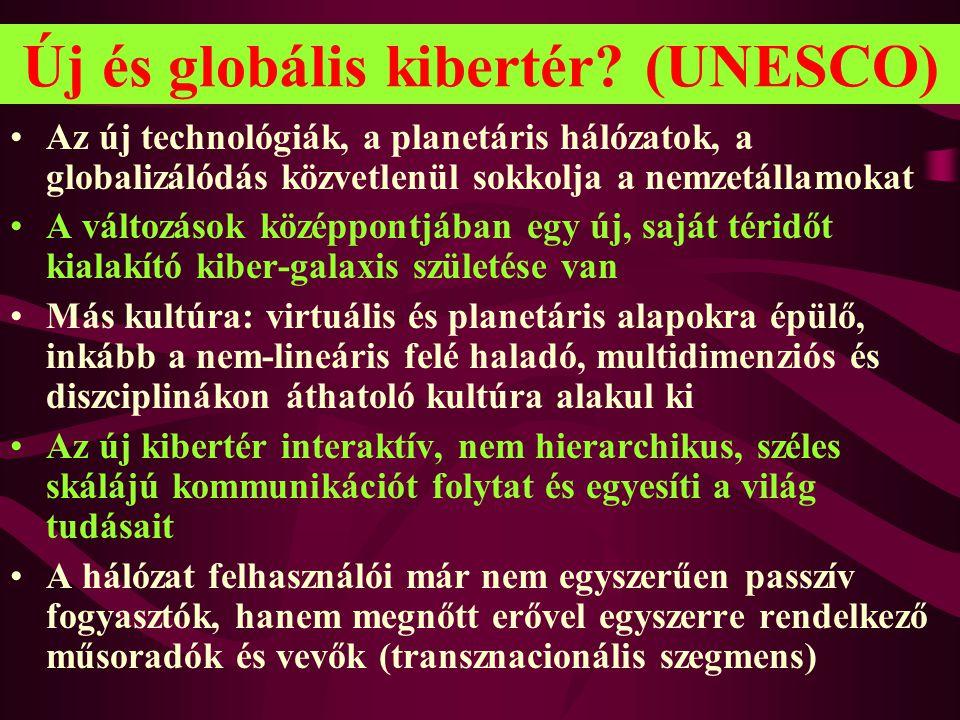 Új és globális kibertér? (UNESCO) •Az új technológiák, a planetáris hálózatok, a globalizálódás közvetlenül sokkolja a nemzetállamokat •A változások k