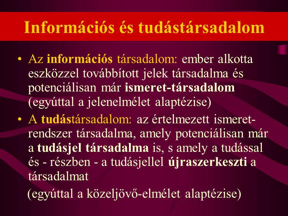 Információs és tudástársadalom •Az információs társadalom: ember alkotta eszközzel továbbított jelek társadalma és potenciálisan már ismeret-társadalo