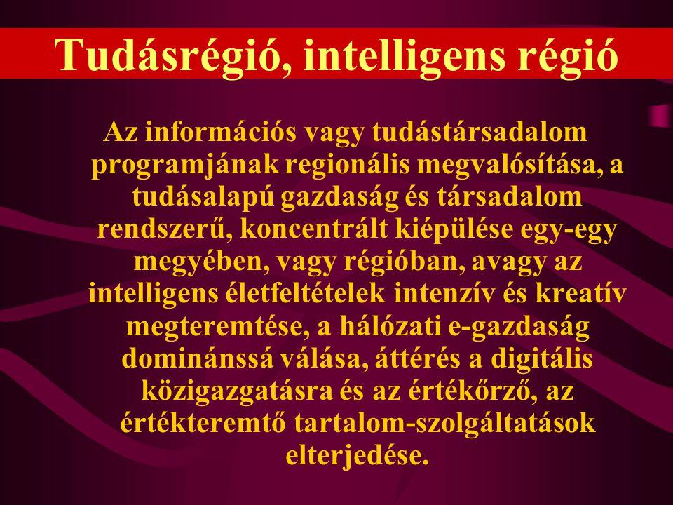 Tudásrégió, intelligens régió Az információs vagy tudástársadalom programjának regionális megvalósítása, a tudásalapú gazdaság és társadalom rendszerű