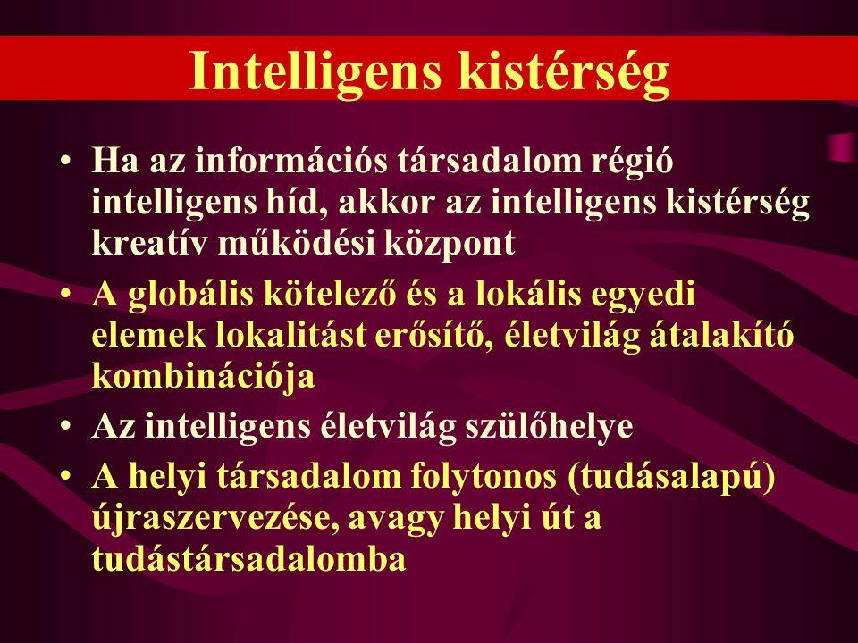 Intelligens kistérség •Ha az információs társadalom régió intelligens híd, akkor az intelligens kistérség kreatív működési központ •A globális kötelez
