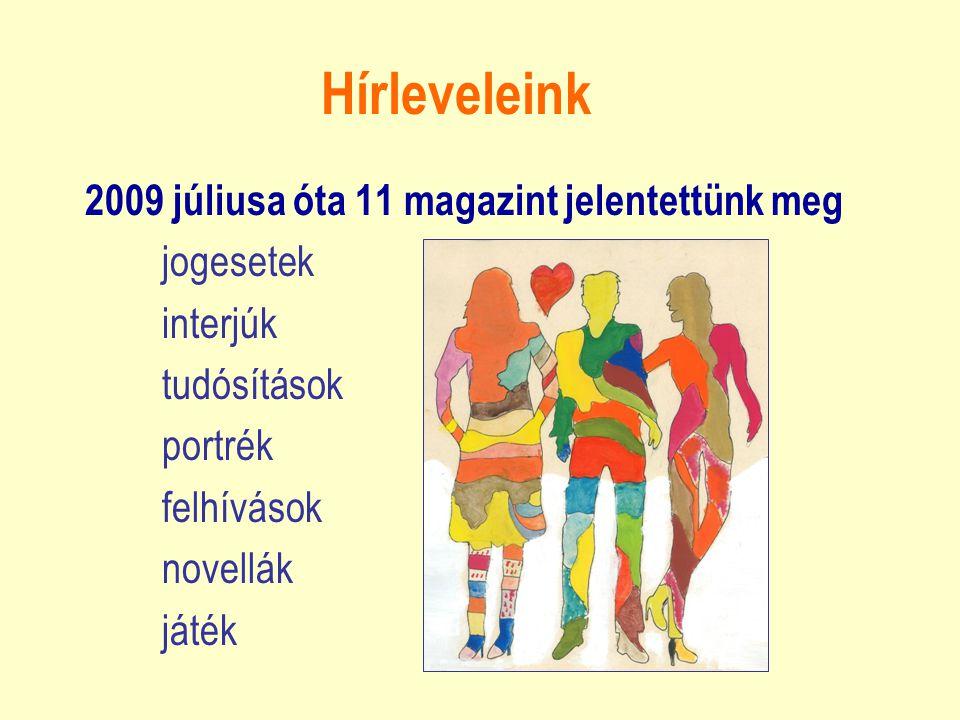 Hírleveleink 2009 júliusa óta 11 magazint jelentettünk meg jogesetek interjúk tudósítások portrék felhívások novellák játék