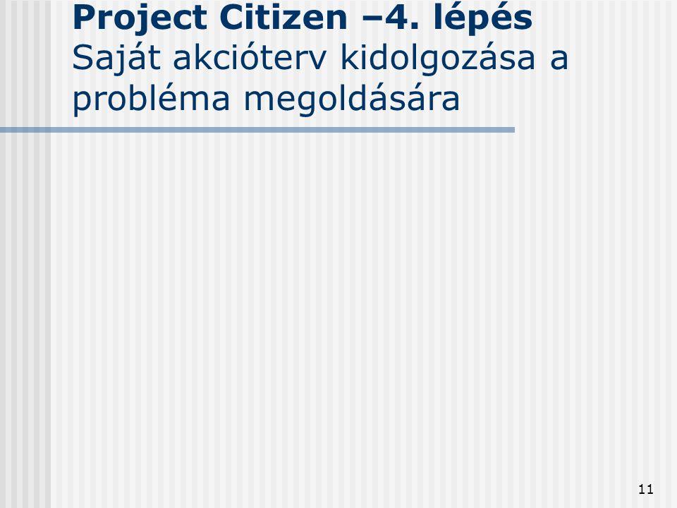 11 Project Citizen –4. lépés Saját akcióterv kidolgozása a probléma megoldására