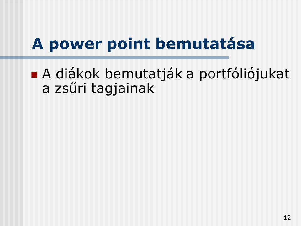 12 A power point bemutatása  A diákok bemutatják a portfóliójukat a zsűri tagjainak
