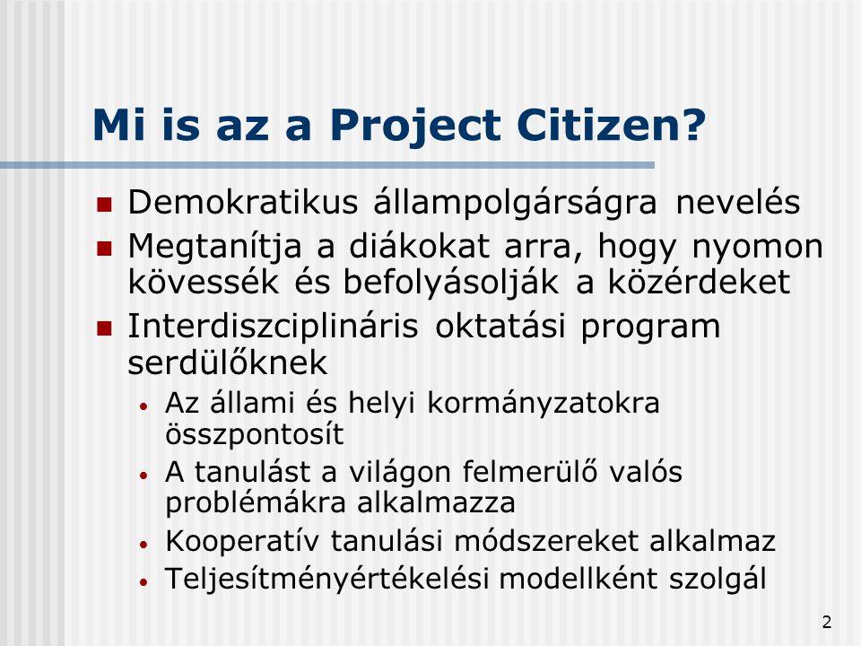 2 Mi is az a Project Citizen?  Demokratikus állampolgárságra nevelés  Megtanítja a diákokat arra, hogy nyomon kövessék és befolyásolják a közérdeket