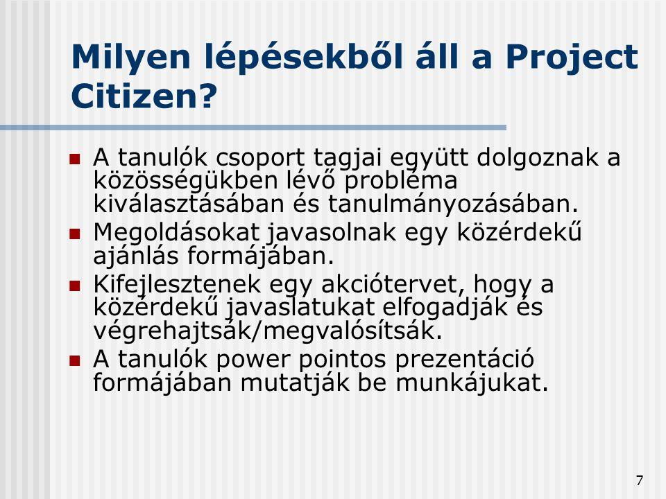 7 Milyen lépésekből áll a Project Citizen.