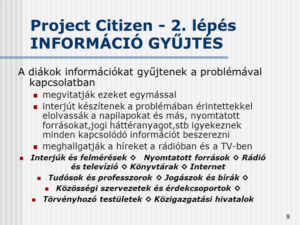 9 Project Citizen - 2. lépés INFORMÁCIÓ GYŰJTÉS A diákok információkat gyűjtenek a problémával kapcsolatban  megvitatják ezeket egymással  interjút