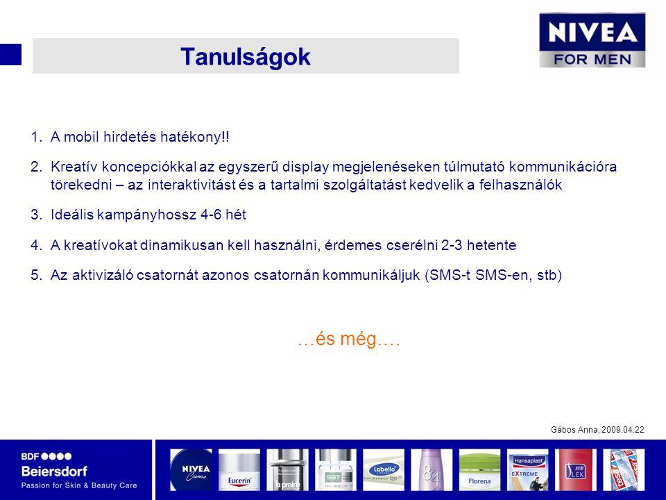 Gábos Anna, 2009.04.22 Tanulságok 1.A mobil hirdetés hatékony!.