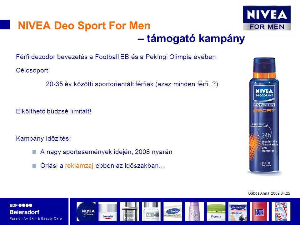 Gábos Anna, 2009.04.22 NIVEA Deo Sport For Men – támogató kampány Férfi dezodor bevezetés a Football EB és a Pekingi Olimpia évében Célcsoport: 20-35 év közötti sportorientált férfiak (azaz minden férfi..?) Elkölthető büdzsé limitált.