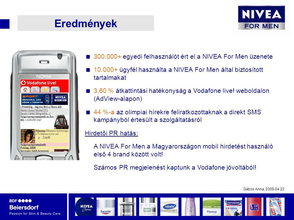 Gábos Anna, 2009.04.22 Eredmények  300.000+ egyedi felhasználót ért el a NIVEA For Men üzenete  10.000+ ügyfél használta a NIVEA For Men által biztosított tartalmakat  3,60 % átkattintási hatékonyság a Vodafone live.