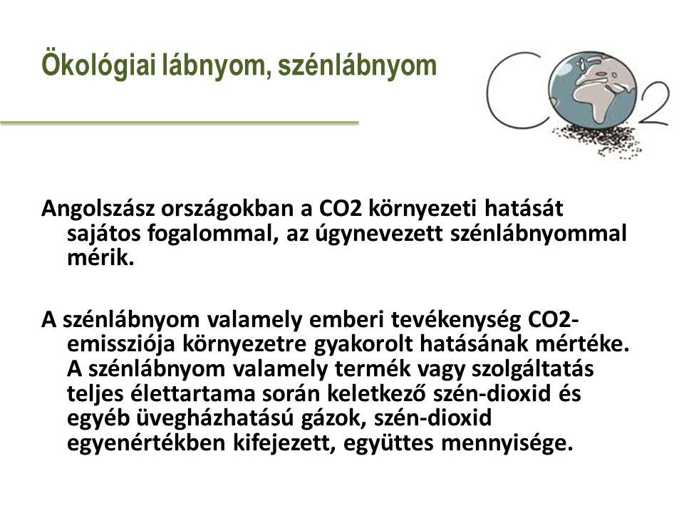 Angolszász országokban a CO2 környezeti hatását sajátos fogalommal, az úgynevezett szénlábnyommal mérik. A szénlábnyom valamely emberi tevékenység CO2
