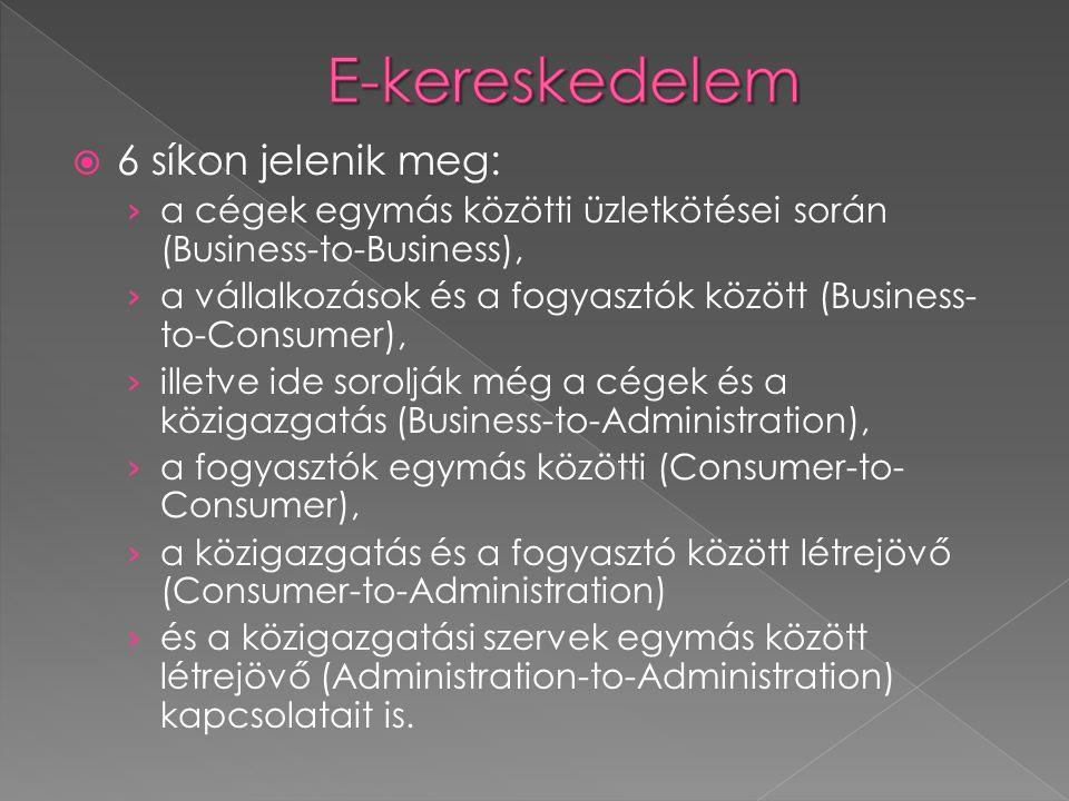  6 síkon jelenik meg: › a cégek egymás közötti üzletkötései során (Business-to-Business), › a vállalkozások és a fogyasztók között (Business- to-Consumer), › illetve ide sorolják még a cégek és a közigazgatás (Business-to-Administration), › a fogyasztók egymás közötti (Consumer-to- Consumer), › a közigazgatás és a fogyasztó között létrejövő (Consumer-to-Administration) › és a közigazgatási szervek egymás között létrejövő (Administration-to-Administration) kapcsolatait is.