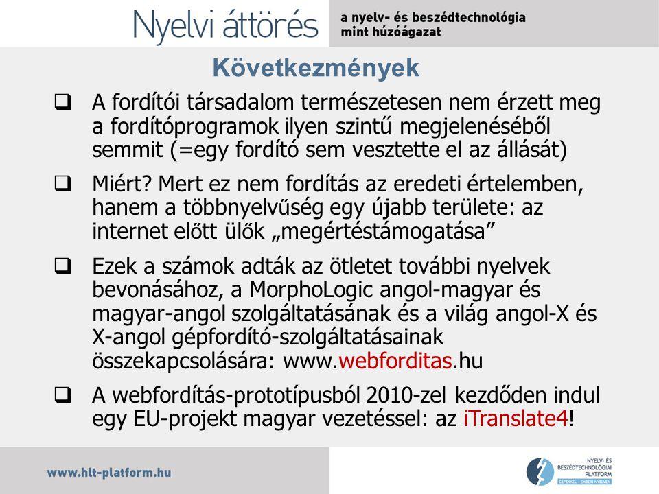 Következmények  A fordítói társadalom természetesen nem érzett meg a fordítóprogramok ilyen szintű megjelenéséből semmit (=egy fordító sem vesztette el az állását)  Miért.
