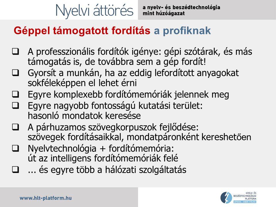 A Platform tervei a fordítástámogatásban  Intelligens szótárak építése és intelligens szótárépítés  A szótári tartalmak fejlesztése  Fordítómemóriák intelligensebbé tétele  A gépi fordítás a magyar nyelv szolgálatában  De mindez nem történhet kizárólag üzleti alapon!