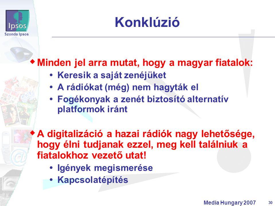 30 Szonda Ipsos Media Hungary 2007 30  Minden jel arra mutat, hogy a magyar fiatalok:  Keresik a saját zenéjüket  A rádiókat (még) nem hagyták el 