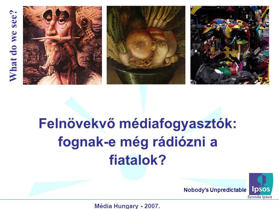 Felnövekvő médiafogyasztók: fognak-e még rádiózni a fiatalok? Nobody's Unpredictable Média Hungary - 2007. What do we see? Szonda Ipsos