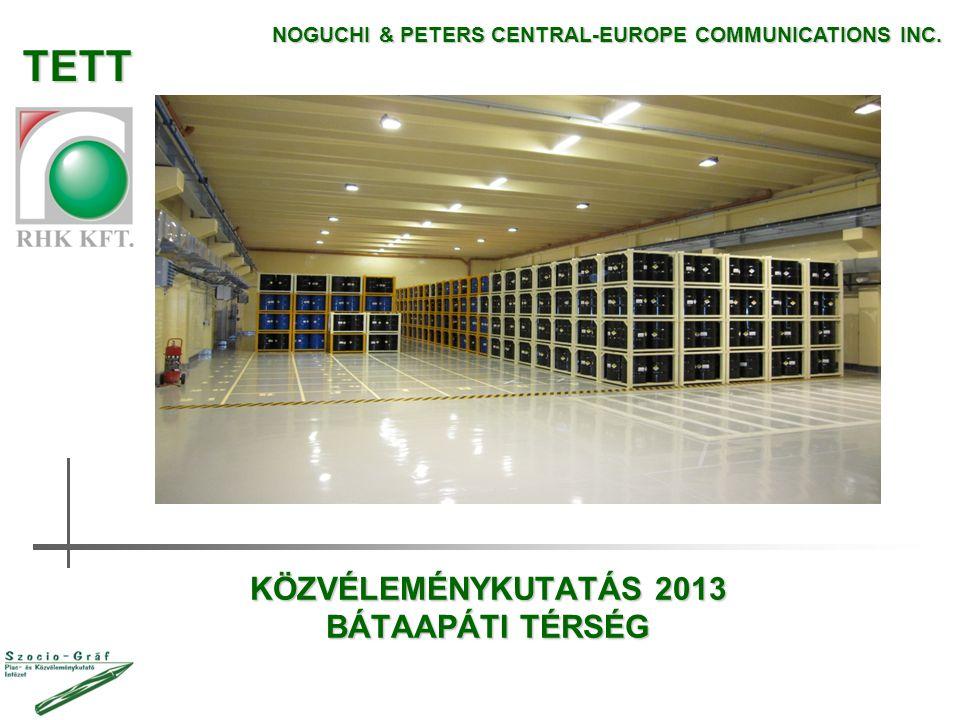 KÖZVÉLEMÉNYKUTATÁS 2013 BÁTAAPÁTI TÉRSÉG NOGUCHI & PETERS CENTRAL-EUROPE COMMUNICATIONS INC. TETT
