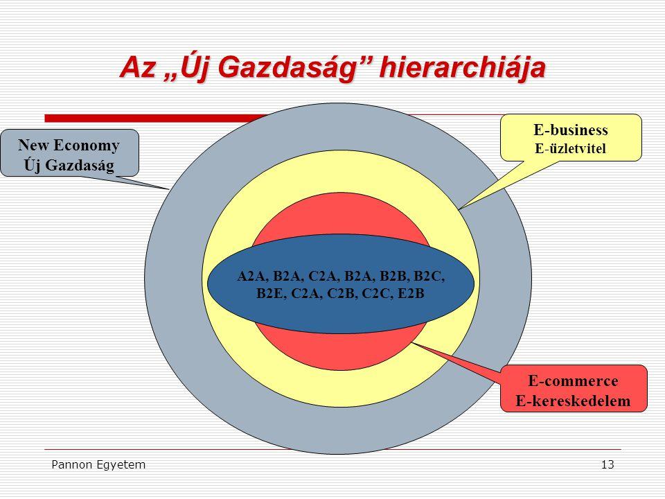 """Pannon Egyetem13 Az """"Új Gazdaság"""" hierarchiája A2A, B2A, C2A, B2A, B2B, B2C, B2E, C2A, C2B, C2C, E2B New Economy Új Gazdaság E-business E-üzletvitel E"""