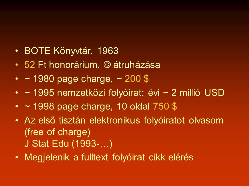 •BOTE Könyvtár, 1963 •52 Ft honorárium, © átruházása •~ 1980 page charge, ~ 200 $ •~ 1995 nemzetközi folyóirat: évi ~ 2 millió USD •~ 1998 page charge, 10 oldal 750 $ •Az első tisztán elektronikus folyóiratot olvasom (free of charge) J Stat Edu (1993-…) •Megjelenik a fulltext folyóirat cikk elérés