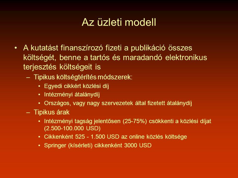 Az üzleti modell •A kutatást finanszírozó fizeti a publikáció összes költségét, benne a tartós és maradandó elektronikus terjesztés költségeit is –Tipikus költségtérítés módszerek: •Egyedi cikkért közlési díj •Intézményi átalánydíj •Országos, vagy nagy szervezetek által fizetett átalánydíj –Tipikus árak •Intézményi tagság jelentősen (25-75%) csökkenti a közlési díjat (2.500-100.000 USD) •Cikkenként 525 - 1.500 USD az online közlés költsége •Springer (kísérleti) cikkenként 3000 USD