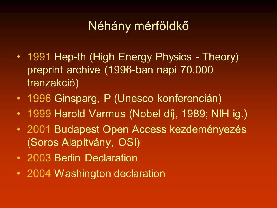 Néhány mérföldkő •1991 Hep-th (High Energy Physics - Theory) preprint archive (1996-ban napi 70.000 tranzakció) •1996 Ginsparg, P (Unesco konferencián) •1999 Harold Varmus (Nobel díj, 1989; NIH ig.) •2001 Budapest Open Access kezdeményezés (Soros Alapítvány, OSI) •2003 Berlin Declaration •2004 Washington declaration