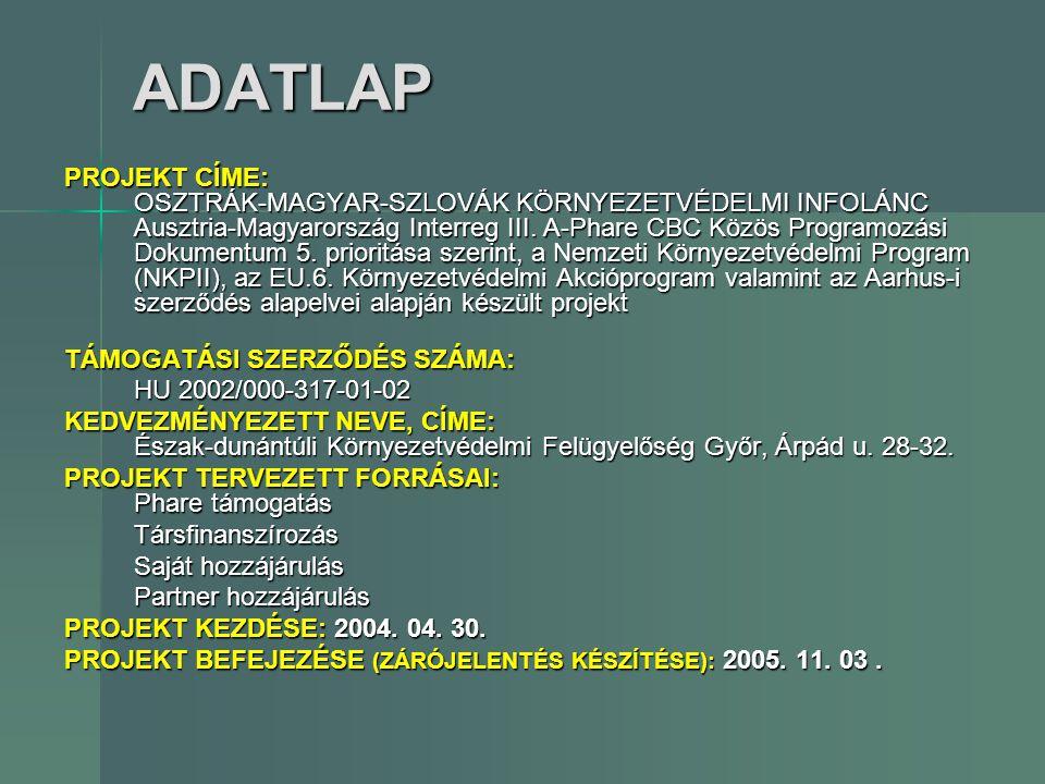 ADATLAP PROJEKT CÍME: OSZTRÁK-MAGYAR-SZLOVÁK KÖRNYEZETVÉDELMI INFOLÁNC Ausztria-Magyarország Interreg III. A-Phare CBC Közös Programozási Dokumentum 5