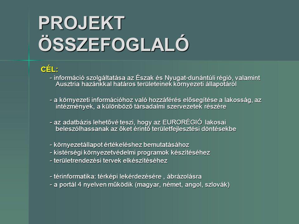 PROJEKT ÖSSZEFOGLALÓ CÉL: - információ szolgáltatása az Észak és Nyugat-dunántúli régió, valamint Ausztria hazánkkal határos területeinek környezeti á