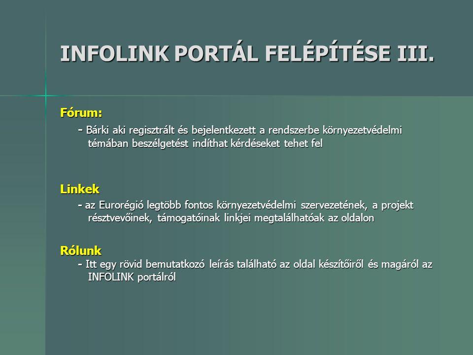 INFOLINK PORTÁL FELÉPÍTÉSE III. Fórum: - Bárki aki regisztrált és bejelentkezett a rendszerbe környezetvédelmi témában beszélgetést indíthat kérdéseke