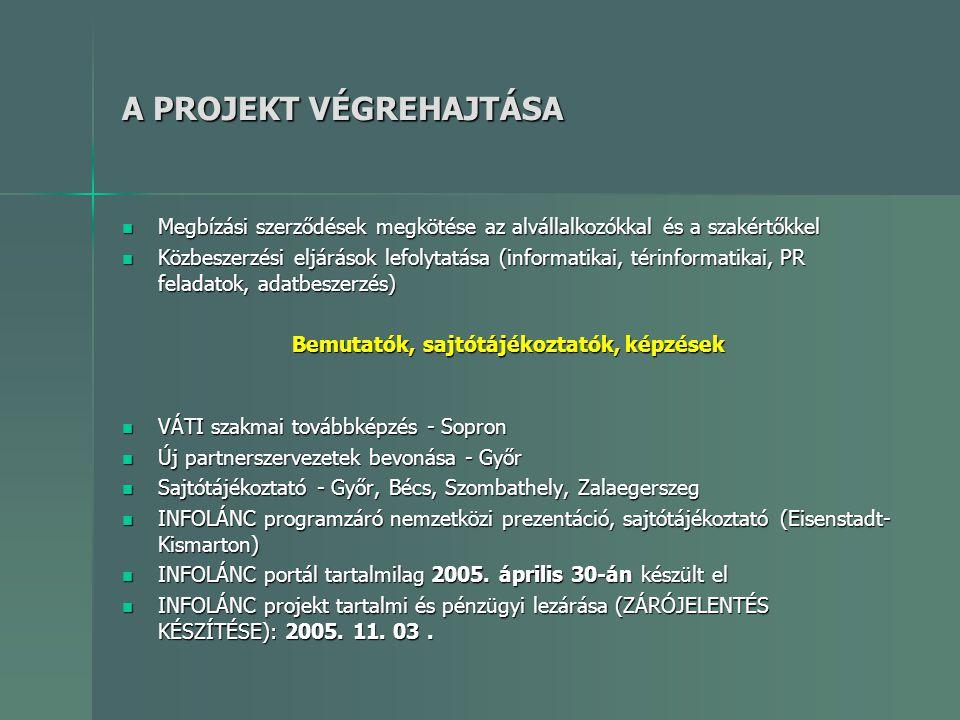 A PROJEKT VÉGREHAJTÁSA  Megbízási szerződések megkötése az alvállalkozókkal és a szakértőkkel  Közbeszerzési eljárások lefolytatása (informatikai, t