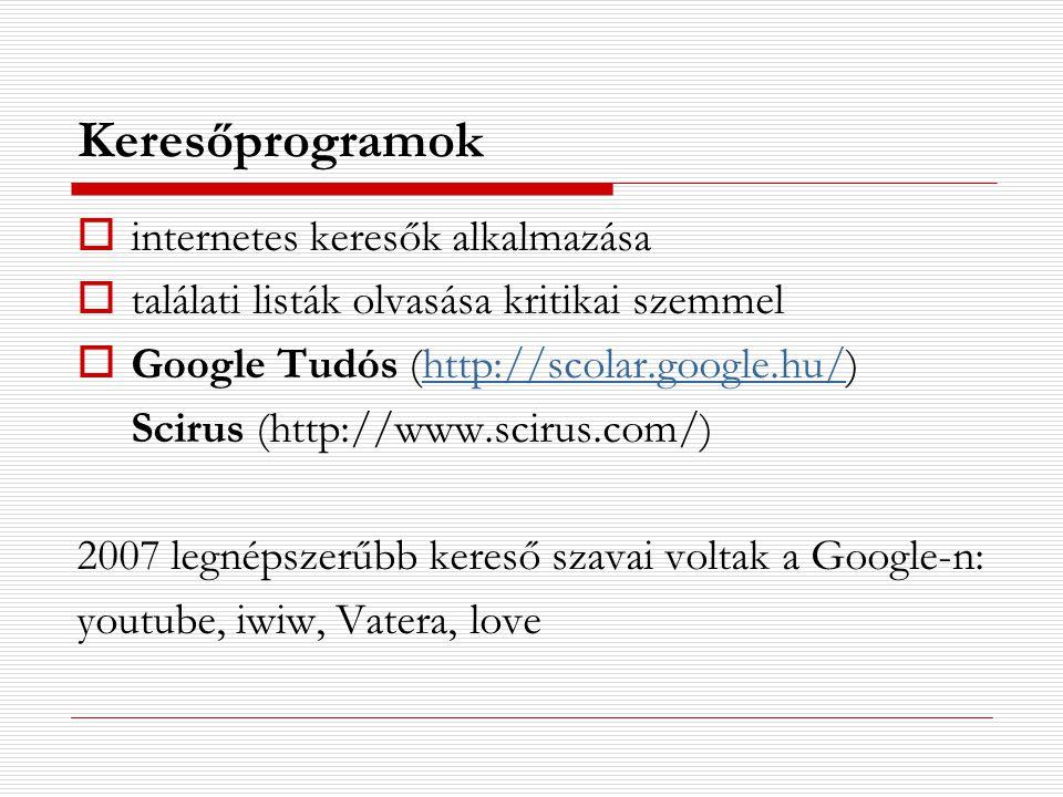Keresőprogramok  internetes keresők alkalmazása  találati listák olvasása kritikai szemmel  Google Tudós (http://scolar.google.hu/)http://scolar.go