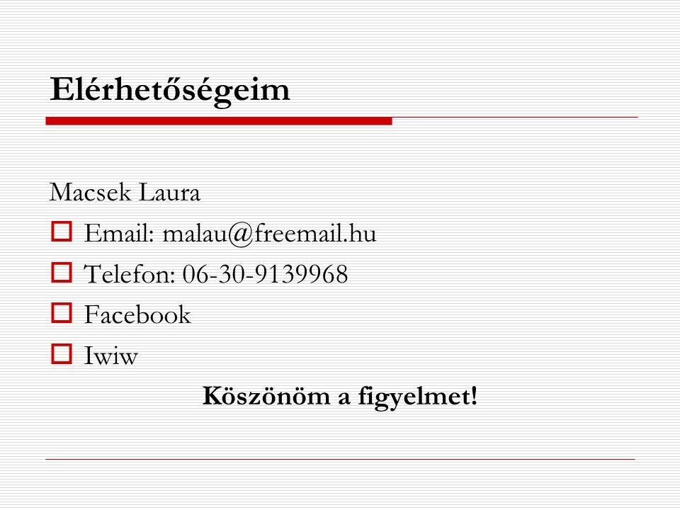Elérhetőségeim Macsek Laura  Email: malau@freemail.hu  Telefon: 06-30-9139968  Facebook  Iwiw Köszönöm a figyelmet!