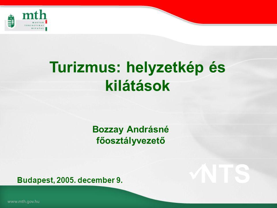 Bozzay Andrásné főosztályvezető Turizmus: helyzetkép és kilátások Budapest, 2005. december 9.  NTS