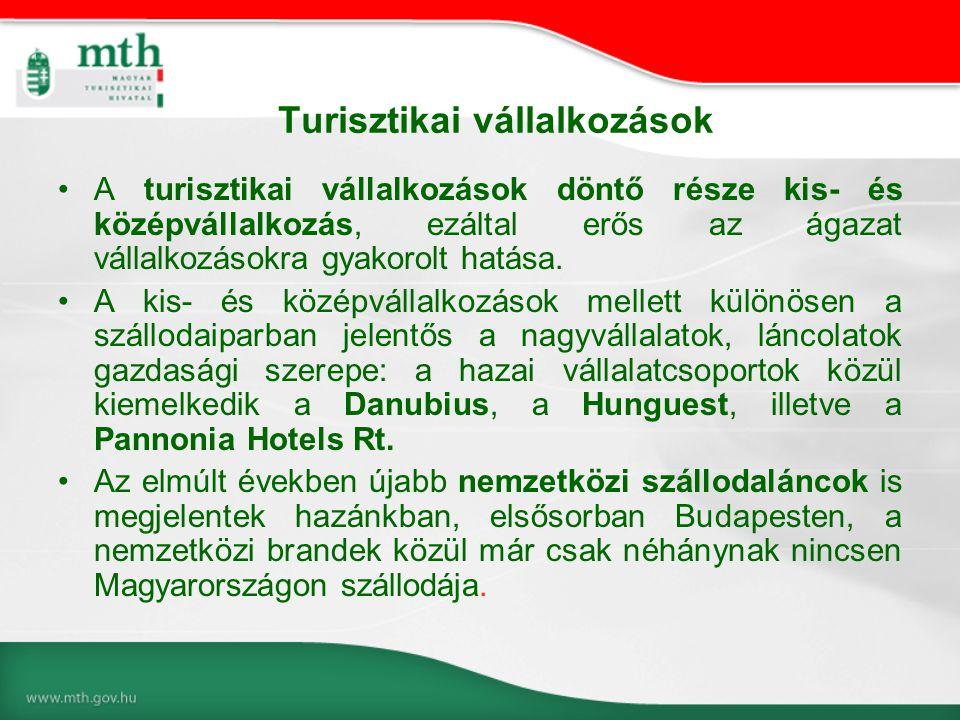 Turisztikai vállalkozások •A turisztikai vállalkozások döntő része kis- és középvállalkozás, ezáltal erős az ágazat vállalkozásokra gyakorolt hatása.