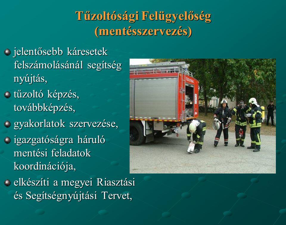 Tűzoltósági Felügyelőség (mentésszervezés) jelentősebb káresetek felszámolásánál segítség nyújtás, tűzoltó képzés, továbbképzés, gyakorlatok szervezés