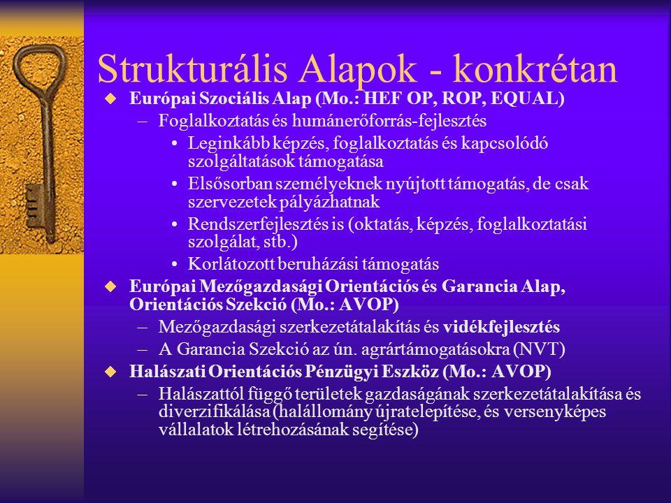 Strukturális Alapok - konkrétan  Európai Szociális Alap (Mo.: HEF OP, ROP, EQUAL) –Foglalkoztatás és humánerőforrás-fejlesztés •Leginkább képzés, fog