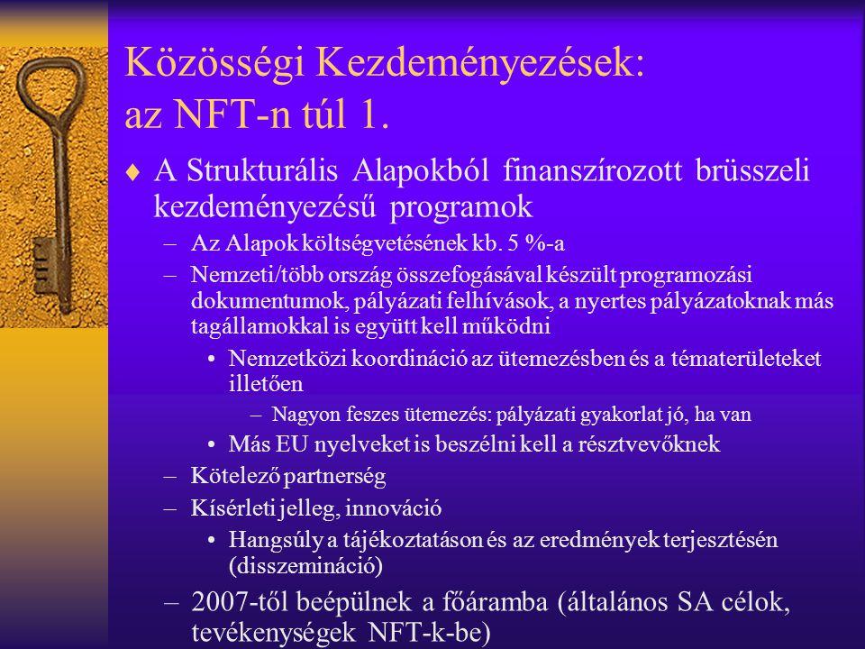 Közösségi Kezdeményezések: az NFT-n túl 1.  A Strukturális Alapokból finanszírozott brüsszeli kezdeményezésű programok –Az Alapok költségvetésének kb