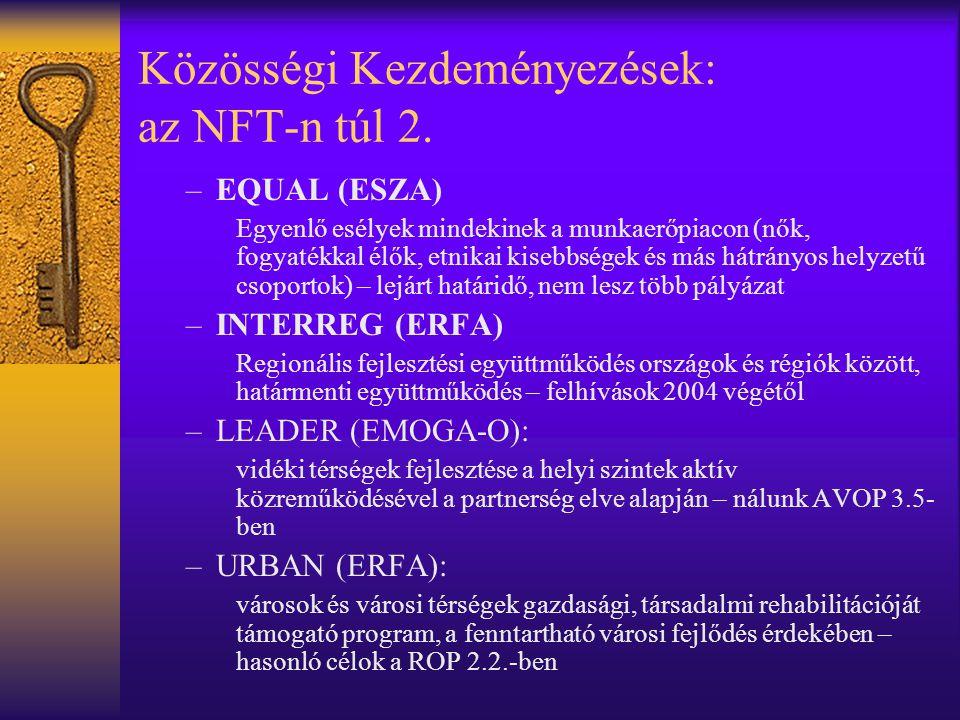 Közösségi Kezdeményezések: az NFT-n túl 2. –EQUAL (ESZA) Egyenlő esélyek mindekinek a munkaerőpiacon (nők, fogyatékkal élők, etnikai kisebbségek és má