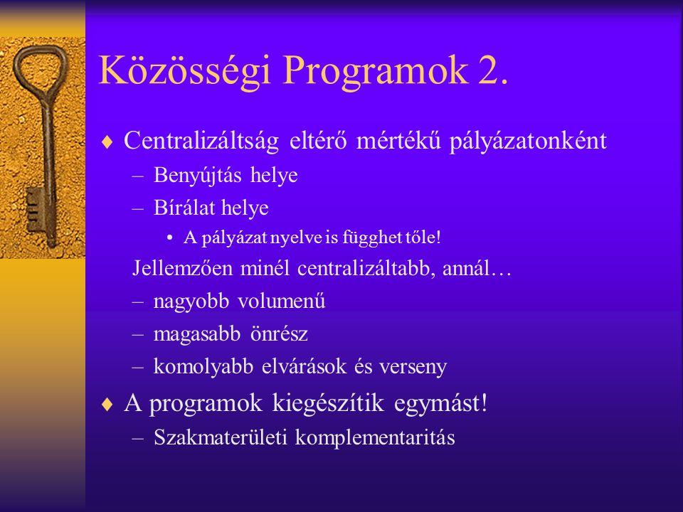 Közösségi Programok 2.  Centralizáltság eltérő mértékű pályázatonként –Benyújtás helye –Bírálat helye •A pályázat nyelve is függhet tőle! Jellemzően